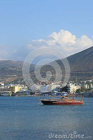 View of Hersonissos in the coastal zone of the Aegean sea. Crete, Greece