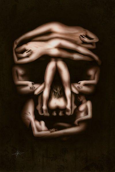 Beauty And Mortality by ~RainerKalwitz on deviantART ... #skull #women #female #naked #dali #illusion