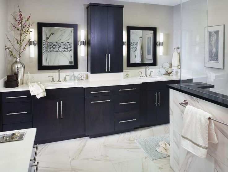 Dark Bathroom Cabinets White Countertops Flooring