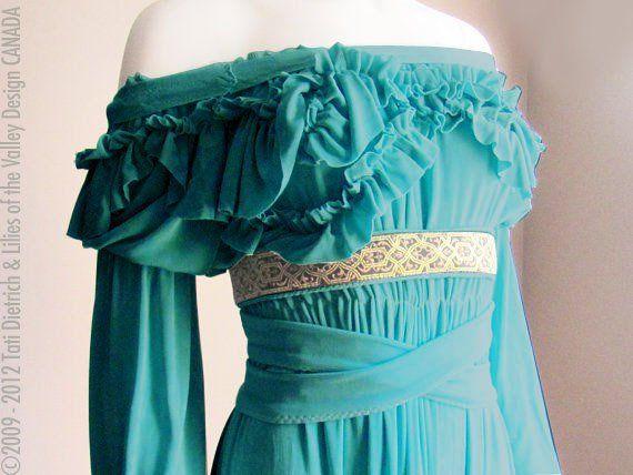 Renaissance Dress. Fairy Dress. Peasant. Pirate. Plus Size. S. M. L. XL. XXL Gothic. Peacock Green or Black Knit Jersey. CANADA.. $323.00, via Etsy.