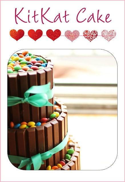 3-Tiered KitKat Cake--It's amazing!  We a heart-shaped one that is perfect for Valentine's Day in our blog  www.itswrittenonthewall.com