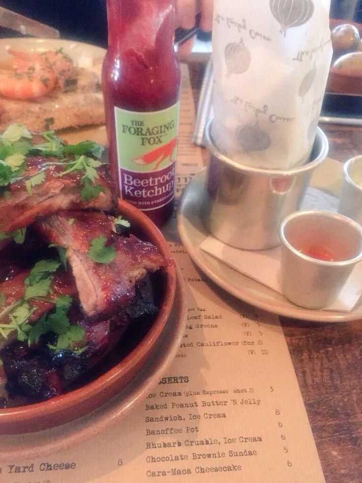 Tavern Cheltenham Ribs & Burger slider. Sweet potato wedges & Foraging Fox Beetroot Ketchup - delicious!