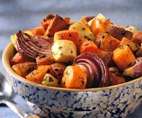 Toss sweet potatoes, carrots, red onions, and parsnip with a little oil and herbs for an easy #Thanksgiving side dish.