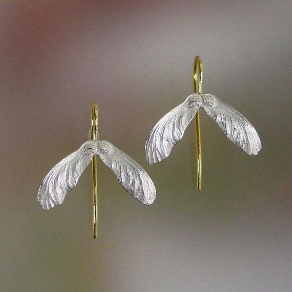 Japanese Maple Seed Earrings Sterling Silver by PatrickIrlaJewelry
