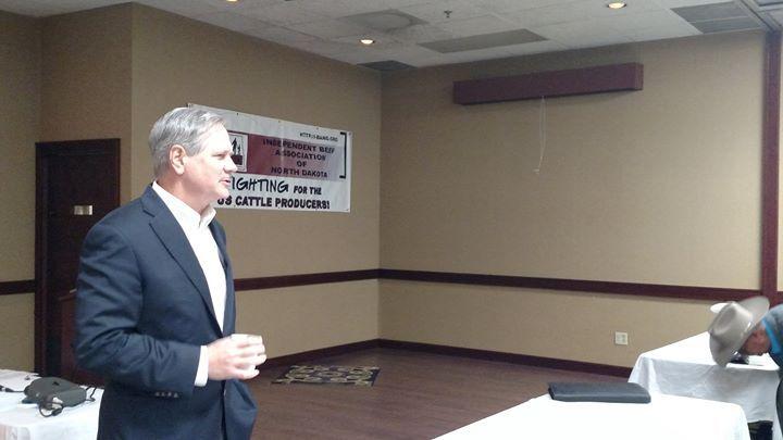 North Dakota's Senator John  Hoeven addresses producers at the Independent Beef Association of North Dakota's convention in Mandan.
