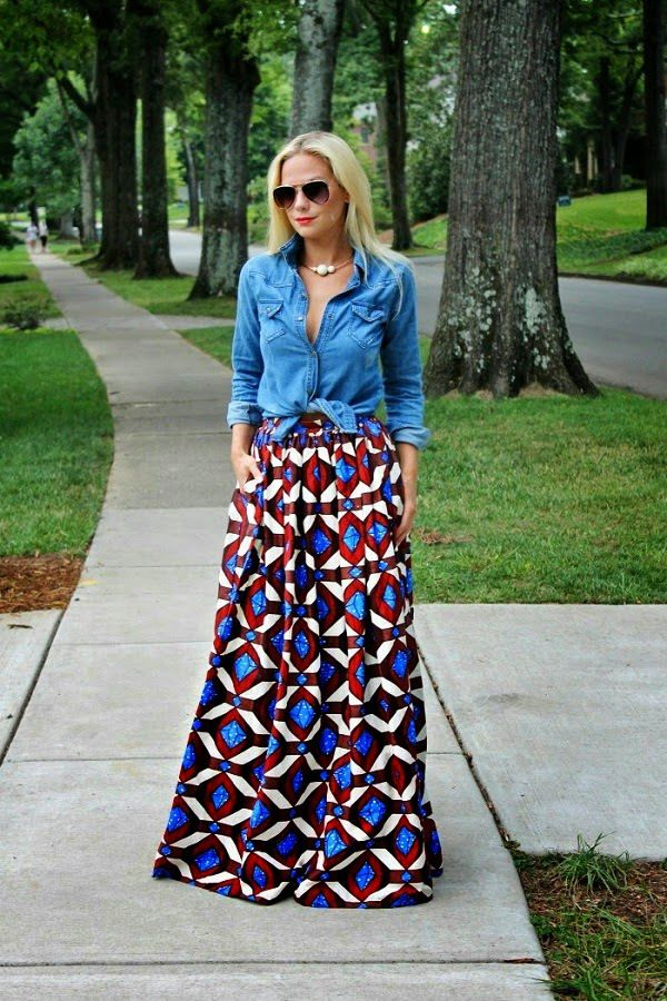 Style Inspiration: Maxi Skirts and Dresses - I have some tribal fabric in a similar  weight. Full length maxi skirt with elastic waistband  and pockets. Perfect for spring/ fall