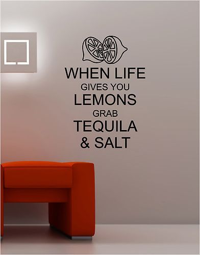 WHEN LIFE GIVES YOU LEMONS wall art sticker vinyl quote KITCHEN LOUNGE keep calm | eBay
