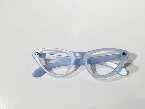 Vintage 60s Blue Cat Eye Eyeglasses New Old Stock Light Blue Cateye Glasses Frames Nos Chic French Cat Vintage Eyeglasses Cat Eye Glasses Frames Eyeglasses