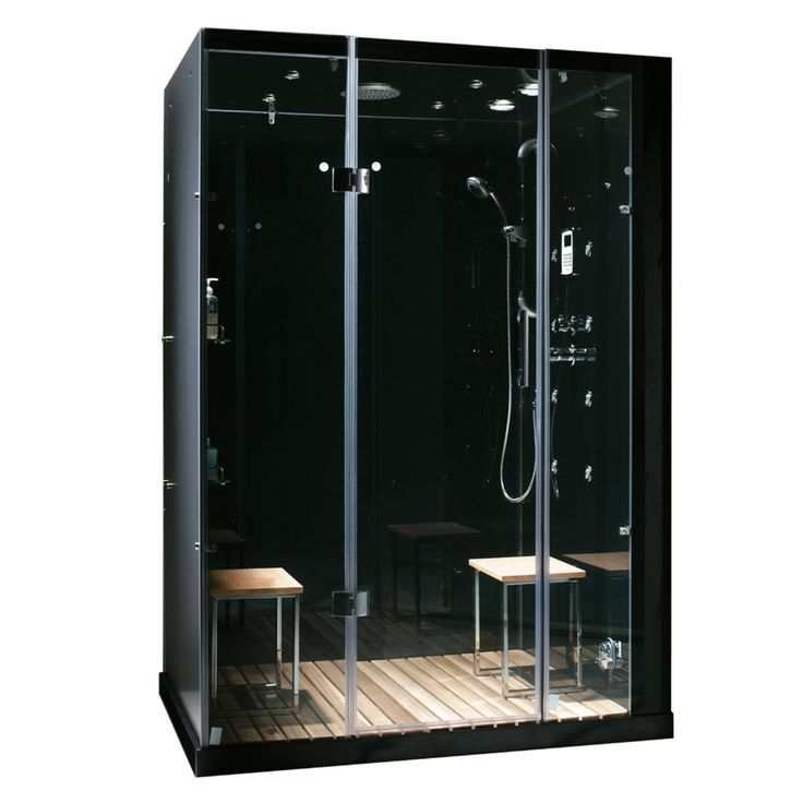Northeastern Bath Orion Black Tempered Glass Wall Stone Composite Floor with Steam 11-Piece Alcove Shower Kit (Common: 60-in x 32-in; Actual: 84-in x 59-in x 32-in)