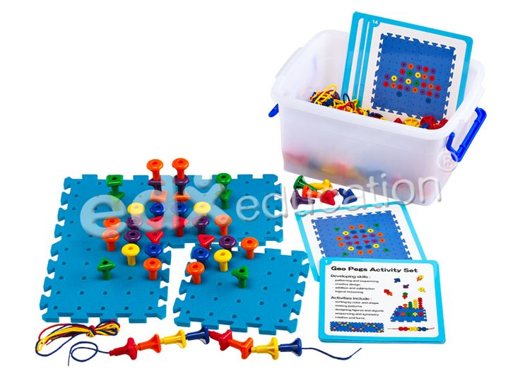 Geo Peg Board Activity Set is ideal for developing children's fine motor skills, and patterning & sequencing, creative design, addition & subtraction, and logical reasoning skills #edxeducation #mathmanipulatives #learnbyplay #earlyyears #finemotorskills #learningisfun