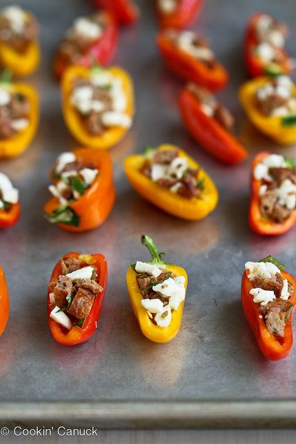 Mini Grilled Stuffed Peppers with Sausage & Basil