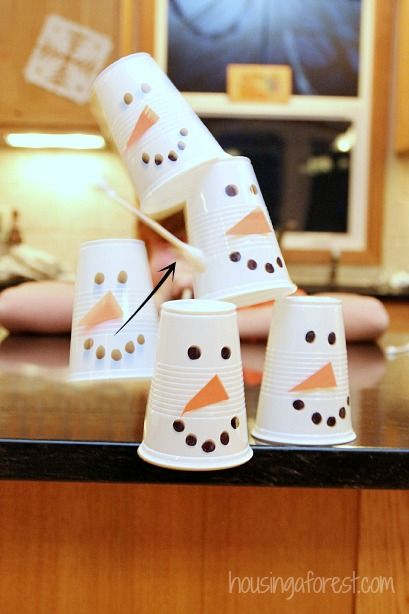 Snowman Blowdart minute to win it games. Christmas Party Games for Kids