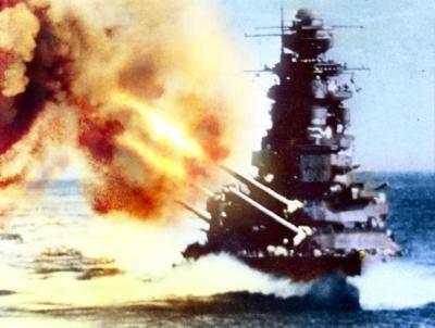 戦艦「長門」斉射