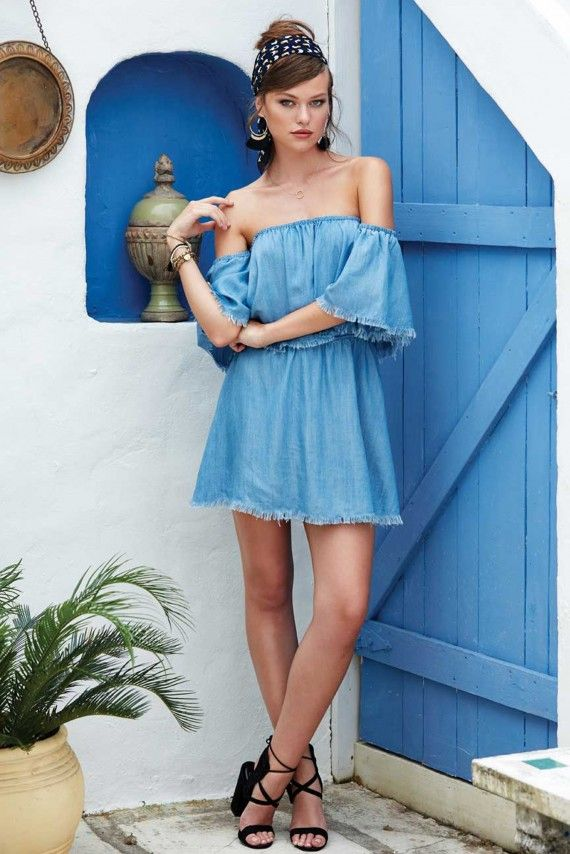 316014771d24 Elan Festival Forever Denim Off-The-Shoulder Dress