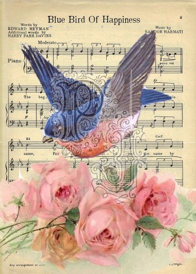 """Vintage art and """"Blue Bird of Happiness"""" sheet music."""