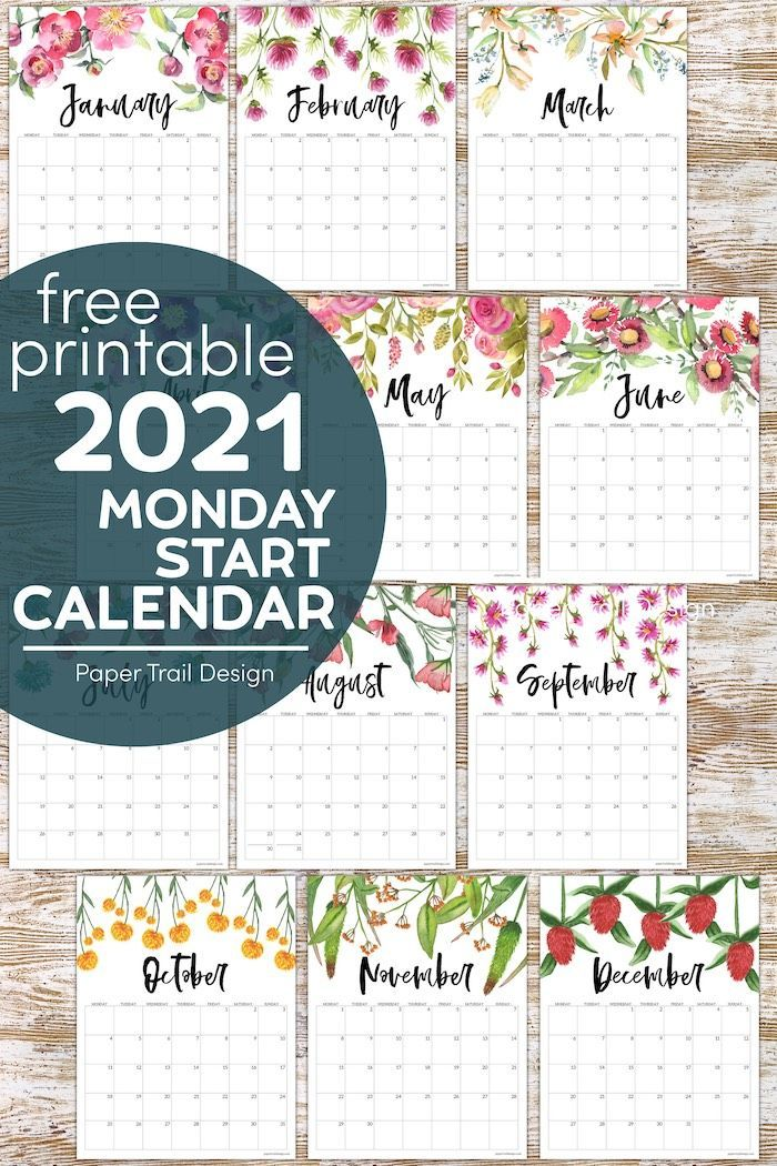 Free Printable 2021 Floral Calendar Monday Start Paper Trail Design In 2020 Free Printable Calendar Templates Paper Trail Calendar
