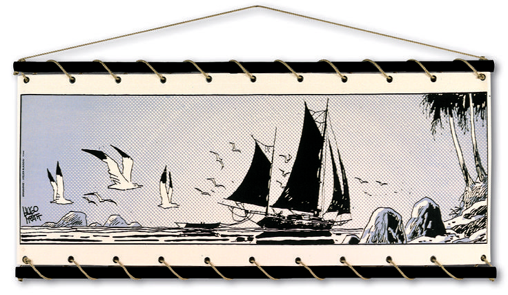 Panneau décoratif textile à accrocher au mur. Toile écrue de coton brut, imprimée manuellement en sérigraphie au 'cadre à plat'. Bois coloris noir, cordage couleur chanvre, livré dans un sac de toile sérigraphié reprenant le visuel du panneau.  Format : 150x70 cm CE PRODUIT EST FABRIQUE EN FRANCE
