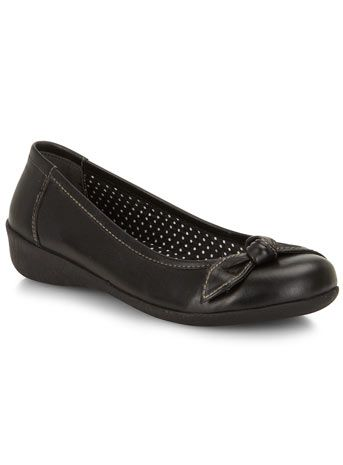 Evans Black Bow Casual Leather Wedges - Flat Shoes - Shoes