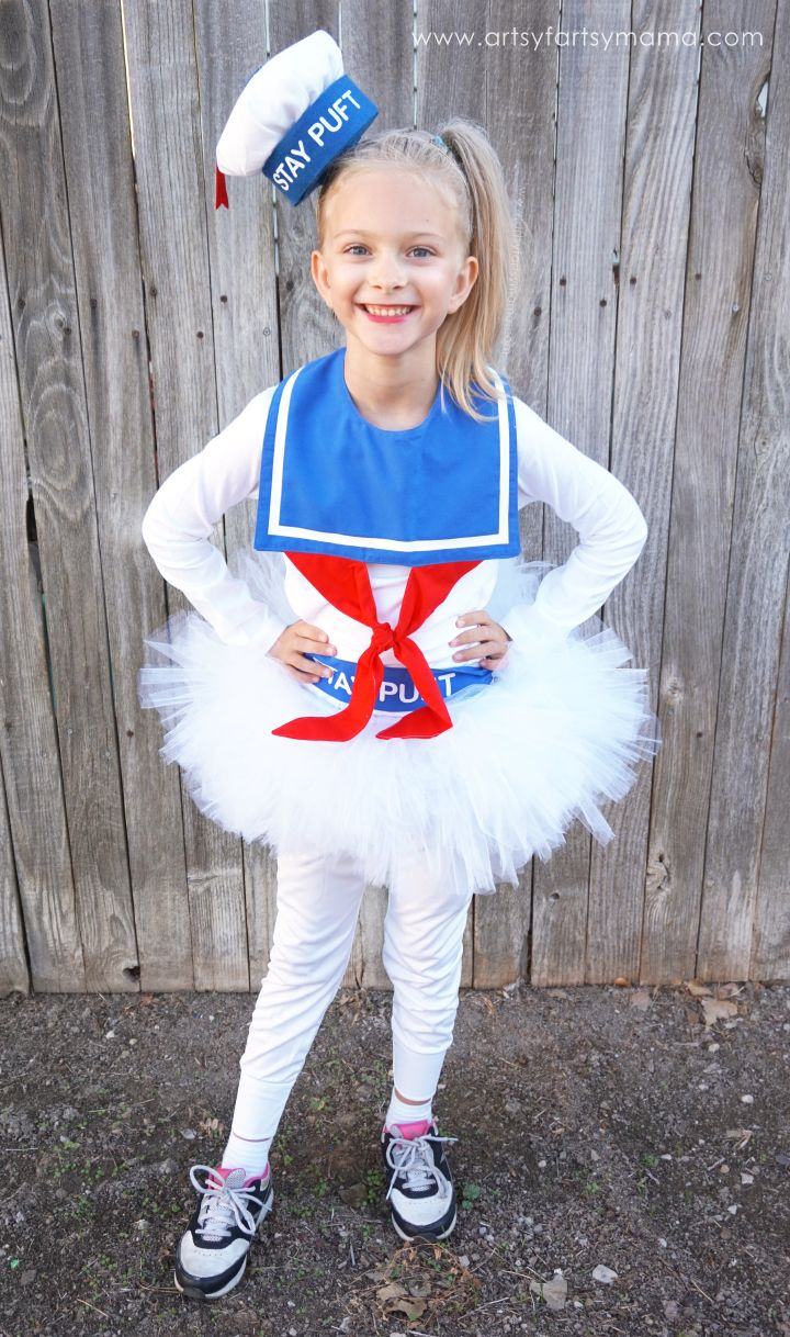 DIY Girly Marshmallow Man Costume Tutorial at artsyfartsymama.com