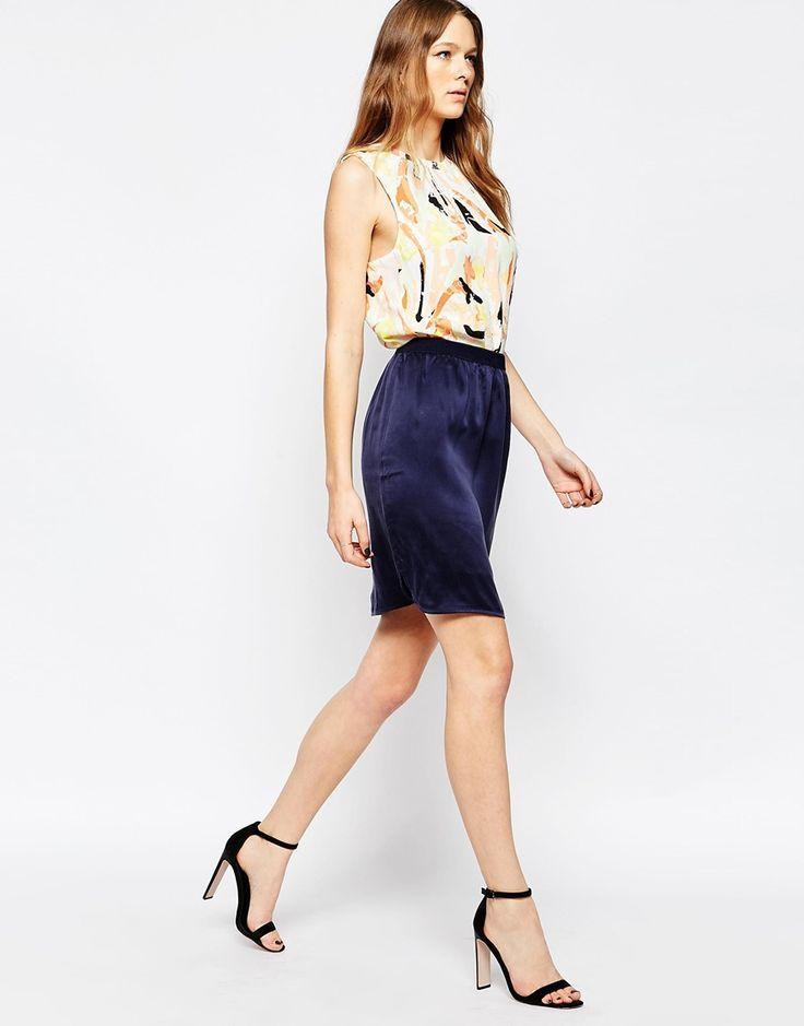 Selected Navy Silk Skirt