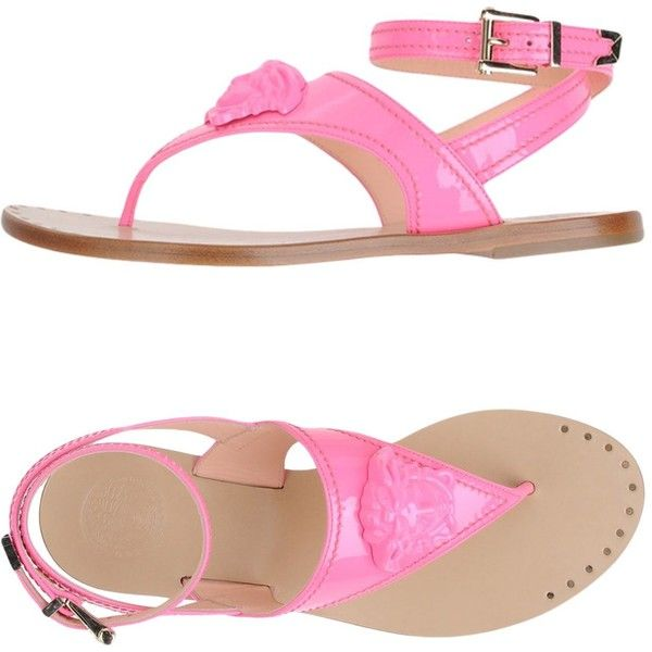 Versace Toe Strap Sandal ($590) ❤ liked on Polyvore featuring shoes, sandals, fuchsia, toe-strap sandals, fuchsia sandals, flat leather sandals, neon flat sandals and leather sole sandals