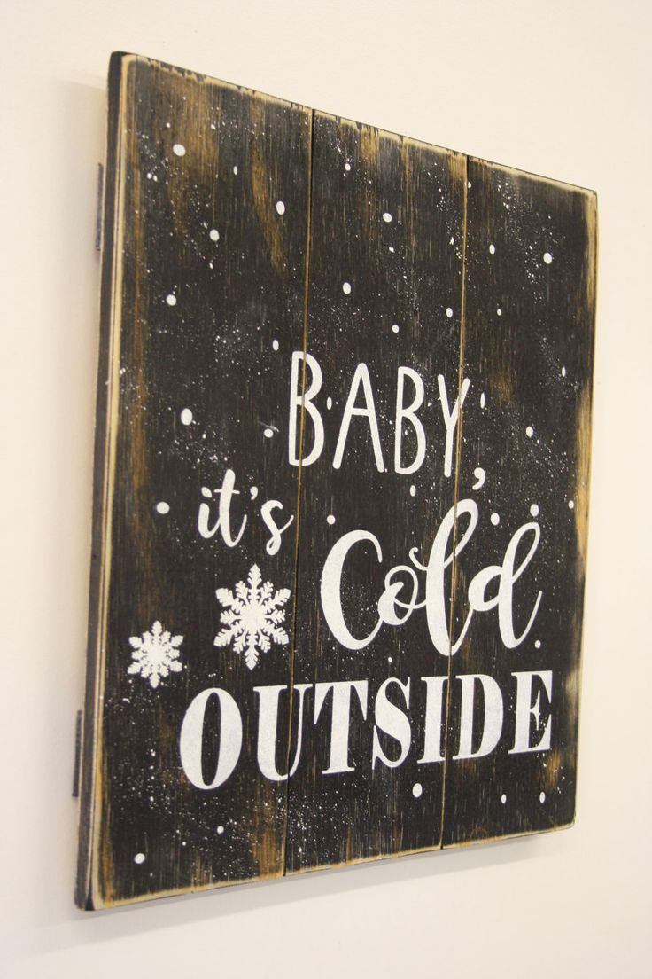 Baby It's Cold Outside Rustic Christmas Decor Vintage Christmas Pallet Sign Wood Wall Decor Christmas Mantle Decor Handmade Handpainted