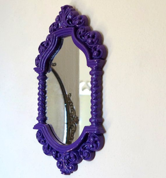 Imperial Purple Wall Mirror in Ornate Gloss Violet Purple Frame on Etsy, $30.00
