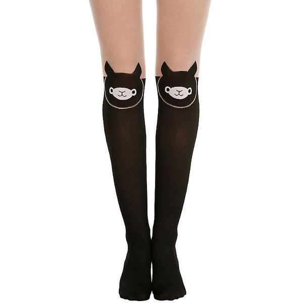 LOVEsick Alpaca Faux Thigh High Tights Hot Topic ($15) ❤ liked on Polyvore featuring intimates, hosiery, tights, socks, thigh high pantyhose, thigh high stockings, thigh high tights and thigh high hosiery