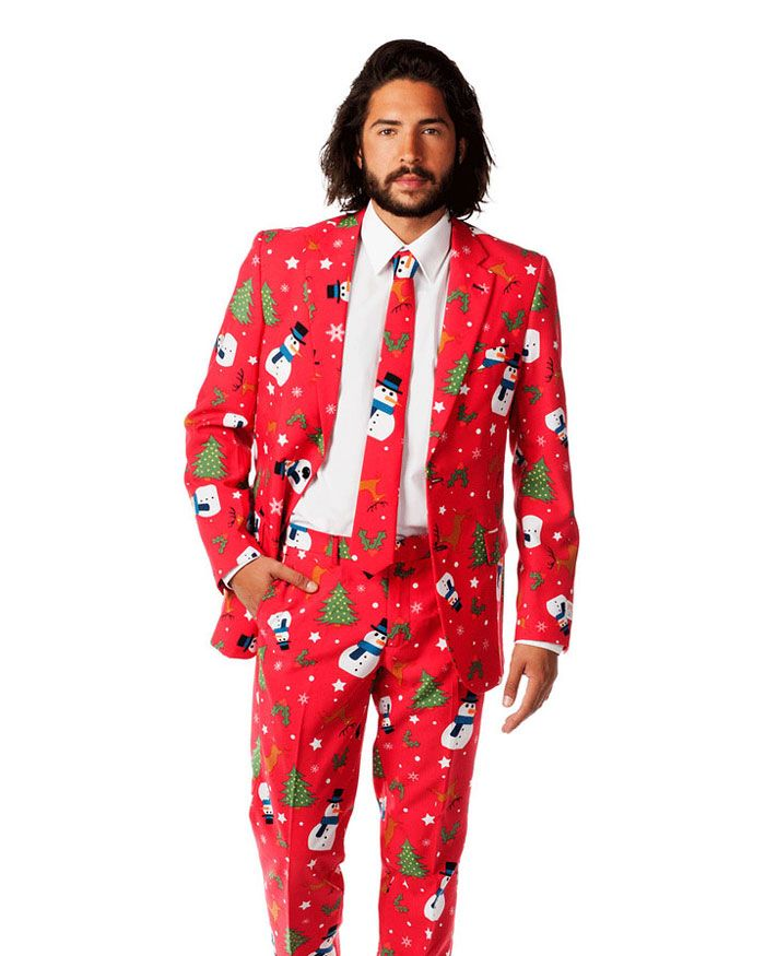 One company has taken the ugly Christmas sweater craze to the next level by creating boldly-colored suit outfits full of Christmas cheer. They combine the best of ugly holiday sweaters and stylish suit and jacket outfits.