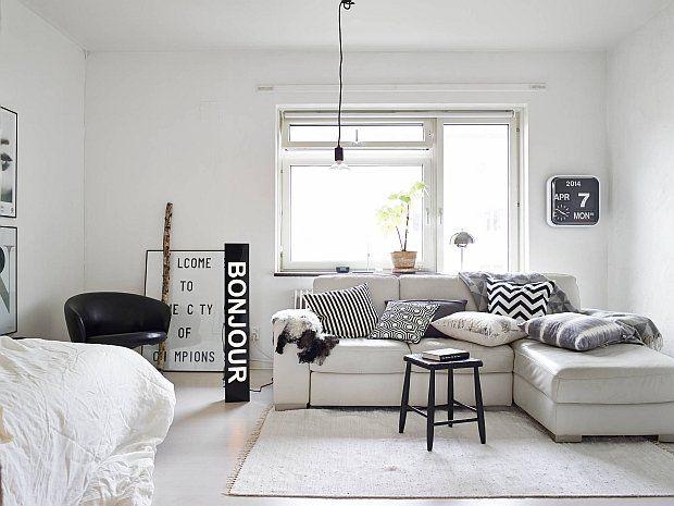 Małe mieszkanie w czerni i bieli - 37 m kw. - zdjęcie