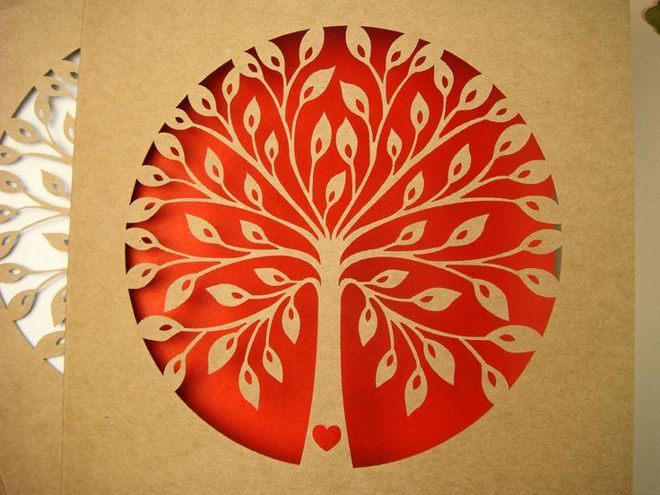 zaproszenia ślubne na papierze ekologicznym Drzewko Szczęścia wzór 63 |   Zaproszenia ślubne laserowe, kartki 3D