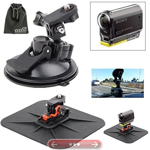 EEEKit Car Mount Kit for Point & Shoot Action and Video Camera Sony Action Cam DR-AS200V/ HDR-AS20 AS15 HDR-AS30V HDR-AS100V/HDR-AZ1 Mini/FDR-X1000V/W 4K Action CamCar Dashboard/Windshield Mount #SonyActionCam