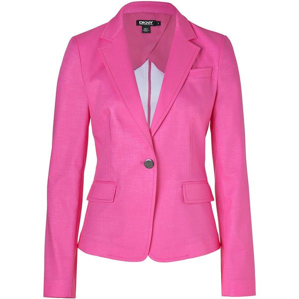 DKNY Charming Pink One Button Cotton Blazer ($630) ❤ liked on Polyvore