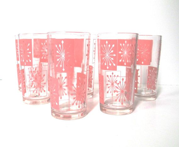 Retro Drinking Glasses - Set of Six Atomic Starburst Glasses - Pink Kitchen Tumblers