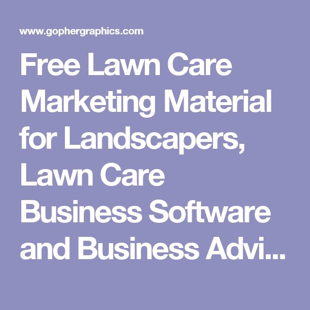 Free Lawn Care Marketing Material for Landscapers, Lawn Care Business Software and Business Advice For Lawn Care Operators