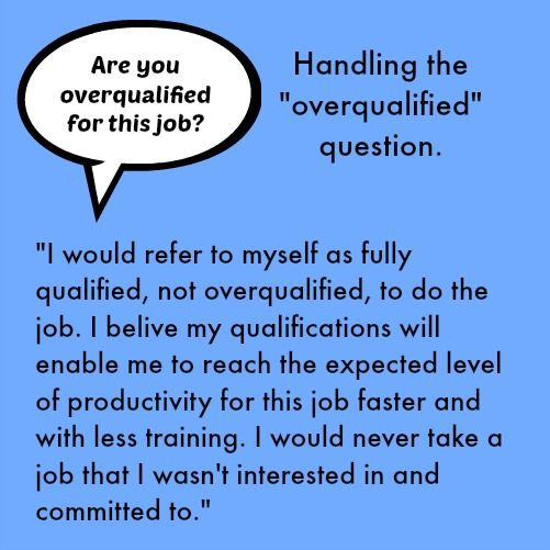 ARE YOU OVER-QUALIFIED?