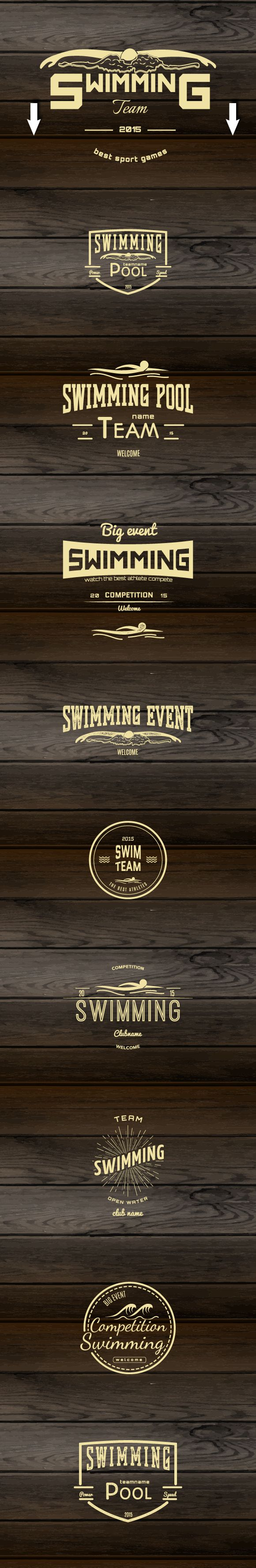 Swimming vector set badges and logos on Behance