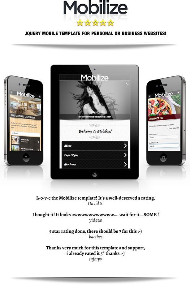 Site Templates - Mobilize - Touch Optimized Mobile Template | ThemeForest