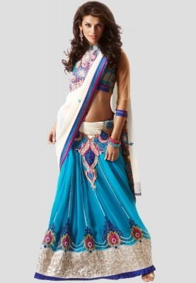 Blue coloured, embroidered saree from the house of Bahubali. Made of georgette, this saree measures 6.30 m, including a blouse piece. Bring out the true diva in you and reinvent your true self by wearing this beautiful blue coloured, embroidered saree from the house of Bahubali. This saree will give a royal touch to your persona. Wear it for an evening party with minimal jewellery to look ravishing.