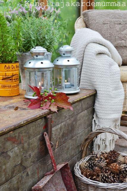 A basketful of pine cones - a simple garden decoration