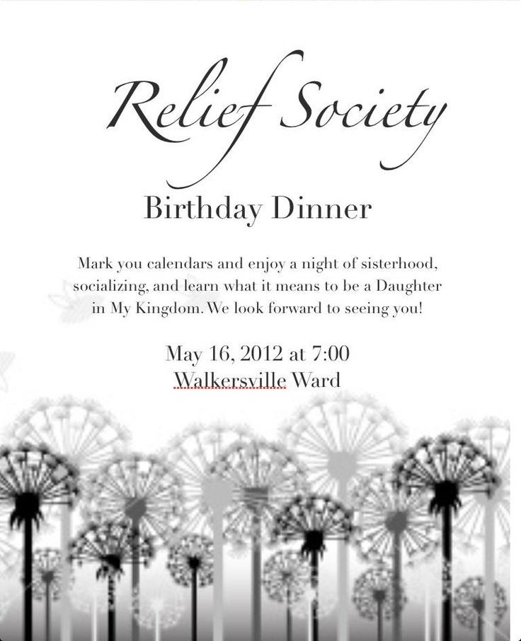 Relief Society Birthday Invite | Relief society, Relief ...