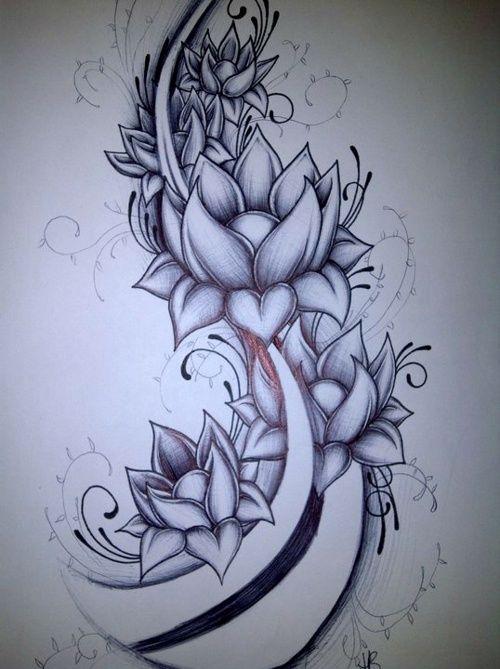 Tattoo drawings of lotus flowers