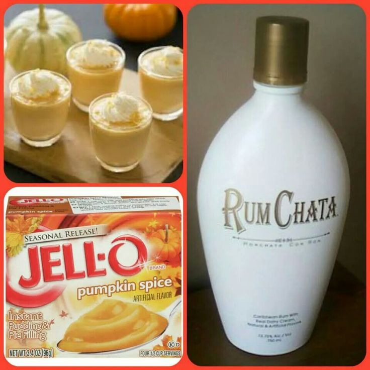 Rumchata Pumpkin Spice Jello Shots [Mix together 3/4 c milk, 3/4 c Rumchata, 1 small package of pumpkin spice pudding; Add an 8 oz Cool Whip tub slowly; Pour into shot glasses; Freeze for 2 hours]