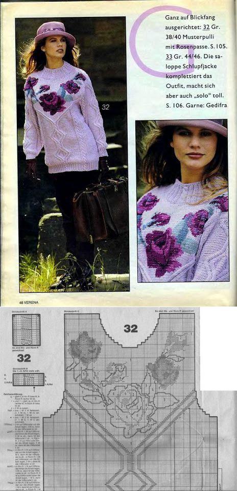 Розы - жаккард спицами (подборка) | вязание(жаккард,вышивка) | Постила
