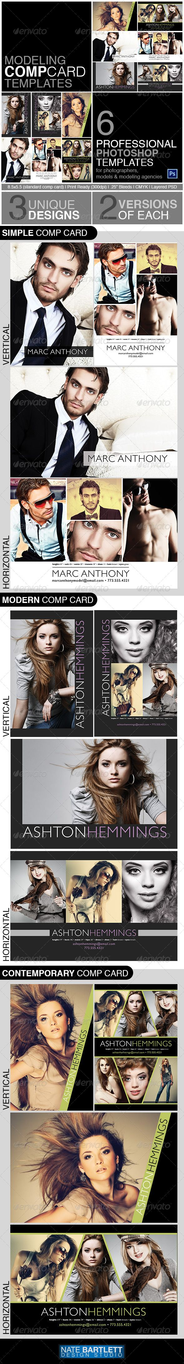 Models, actors, actresses all need comp cards to leave behind at auditions, model calls, and casting calls. This comp card template bundle is perfect for modeling agencies, photographers, models, actors and designers. There are 6 templates in total with 3 unique designs, each with various layout orientations. This bundle is perfect to use now and save for later. Your clients will certainly be impressed with these professional designs.