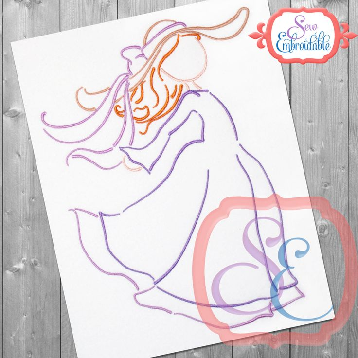 Bonnet Windy Girl Design For Machine Embroidery INSTANT DOWNLOAD by SewEmbroidable on Etsy