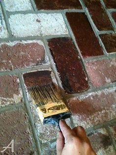 How to Stain Brick tutorial. Before we bought our house, the exterior brick had been painted then power washed (too much) so our bricks now have an orange weathered look. We are in a builders development so every other house with brick is a nice toasty warm red. This may be a good option to tone down our orange glowing brick as the refacing estimates were quite high! - Adventure Time