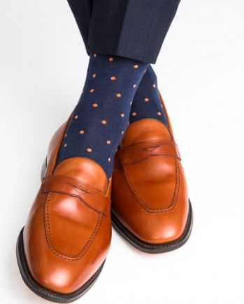 Dapper Classics Dress Navy with Orange Polka-Dot Mid-Calf Linked Toe Fine Merino Wool Sock.  #menshoes