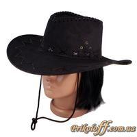 Ковбойская шляпа, черная замша