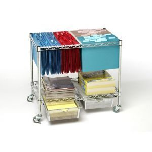 Chrome File Cart available from Seville Classics. Portable and many options for added drawers or hanging files on the second level and a tabletop above.